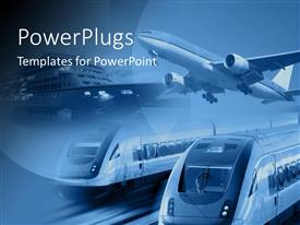 PowerPoint template displaying airplane train and ship at one place with blue background, Different modes of transportation