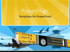 PowerPlugs: PowerPoint template with airplanes in flying mode travelling arrival and departure information