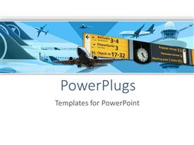 PowerPoint template displaying airport airplane transportation theme with flying planes and planes parked in airport departures and arrivals check-in and clock panel with air control tower