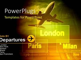 PowerPlugs: PowerPoint template with an aeroplane with a yellowish background