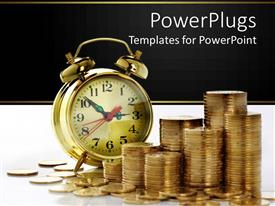 PowerPlugs: PowerPoint template with alarm clock with lots of stacks of gold coins