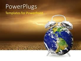 PowerPlugs: PowerPoint template with alarm clock wake-up call for the earth with infertile land in background