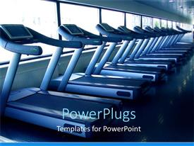 PowerPlugs: PowerPoint template with aligned running bands in a fitness center with windows