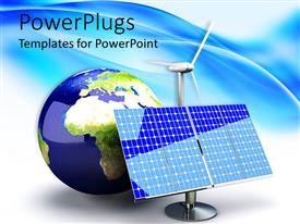 PowerPlugs: PowerPoint template with alternative energy depiction with solar panel and earth / globe