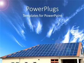 PowerPlugs: PowerPoint template with alternative energy Solar panel with sky in the background