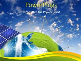 PowerPlugs: PowerPoint template with alternative energy source with solar panels and wind vanes