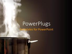 PowerPoint template displaying aluminium pot with white steam rising up on chocolate colored background