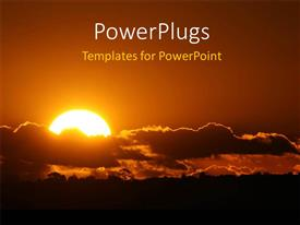 PowerPoint template displaying amazing sunset with yellow sky