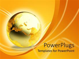 PowerPlugs: PowerPoint template with amber gold orange globe world Earth, wave background