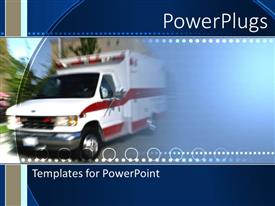 PowerPlugs: PowerPoint template with an ambulance with a greenish background