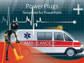 PowerPlugs: PowerPoint template with an ambulance with a heartbeat line and boxes in background
