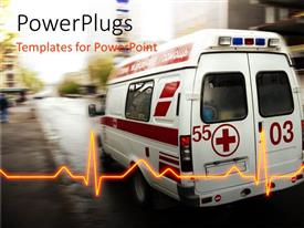 PowerPlugs: PowerPoint template with an ambulance with a heartbeat line and place for text
