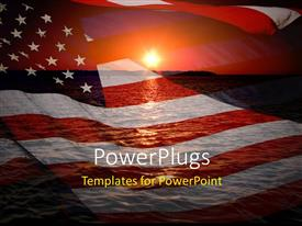 PowerPlugs: PowerPoint template with america patriotic concept with sunrise over ocean