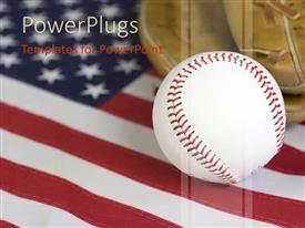 PowerPoint template displaying american baseball theme, baseball ball and glove on United States of America flag