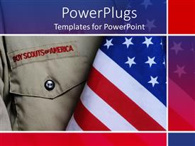 PowerPoint template displaying an american boy scouts outfit along with an American flag