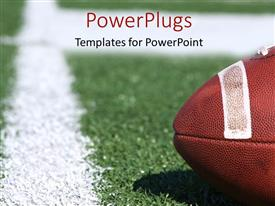 PowerPlugs: PowerPoint template with american collegiate football on a sports field