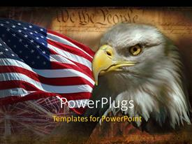 PowerPlugs: PowerPoint template with american Eaglewith the American flag over the United States constitution