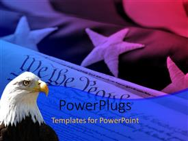 PowerPlugs: PowerPoint template with american Eagle looks on over the United States of America flag