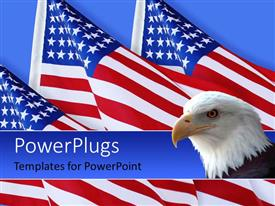 PowerPlugs: PowerPoint template with american eagle with three American flags on blue background