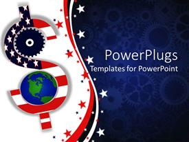 PowerPoint template displaying american economy metaphor with red, white and blue flag dollar sign, earth, blue gear background