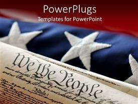 PowerPlugs: PowerPoint template with an American flag in the background while the constitution in the front