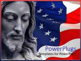 PowerPoint template displaying american flag in background with sculpture of Jesus