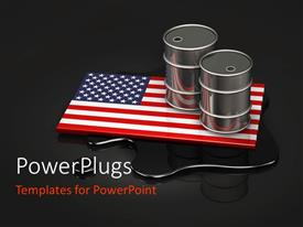 PowerPoint template displaying an American flag in the background with two oil barrels