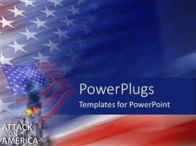 PowerPoint template displaying american flag behind burning twin towers