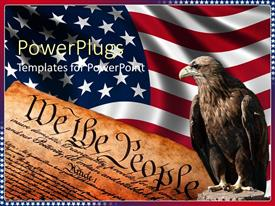 PowerPoint template displaying american flag behind closeup of constitution and posed bald eagle, USA, patriotism