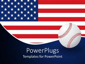 PowerPlugs: PowerPoint template with american flag behind a white base ball on a blue background