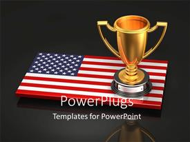 PowerPoint template displaying an American flag with a cup and blackish background