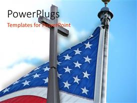 PowerPoint template displaying an American flag with a holy cross