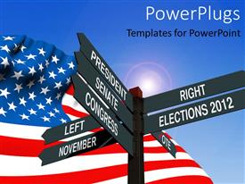 PowerPlugs: PowerPoint template with an American flag with a number of signs and bluish background