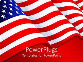 PowerPoint template displaying american flag patriotic background with stars and stripes, red white and blue