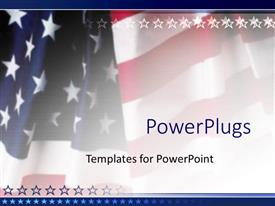 PowerPoint template displaying american flag patriotic on faded background