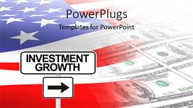 PowerPoint template displaying a colorful background made of American money and flag