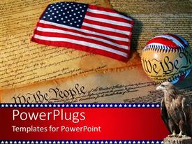 PowerPlugs: PowerPoint template with american flag sitting on the constitution of the United States of America