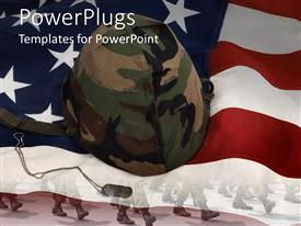 PowerPoint template displaying an American flag with a soldier's helmet