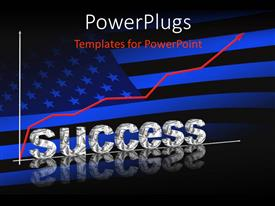 PowerPlugs: PowerPoint template with an American flag with the word success in front