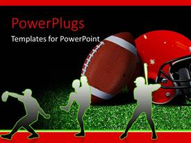 PowerPlugs: PowerPoint template with silhouette of American football players with helmet and ball on field