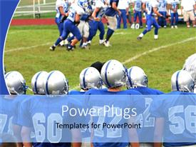 PowerPlugs: PowerPoint template with american football players on pitch during a match