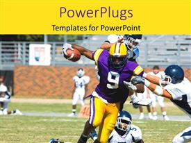PowerPoint template displaying american football match with offensive player running to score point