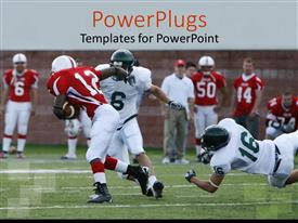 PowerPlugs: PowerPoint template with american football match with player breaking away for the touchdown