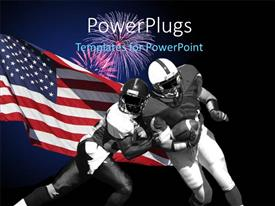 PowerPlugs: PowerPoint template with american football players during match over American flag on black background