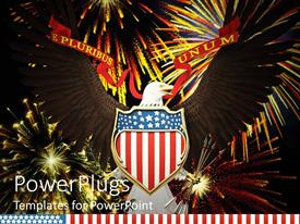 PowerPlugs: PowerPoint template with an American hawk with celebration material in the background