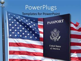 PowerPlugs: PowerPoint template with american passport with highlights and American flag with blue color
