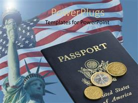 PowerPoint template displaying an American passport with a number of coins