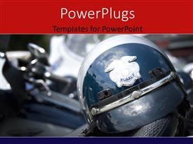 PowerPoint template displaying american police helmet on the saddle with the motorcycles