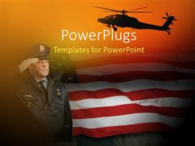 PowerPoint template displaying an American soldier saluting with American flag in the background