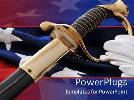 PowerPoint template displaying an american soldier's sword with flag in the background